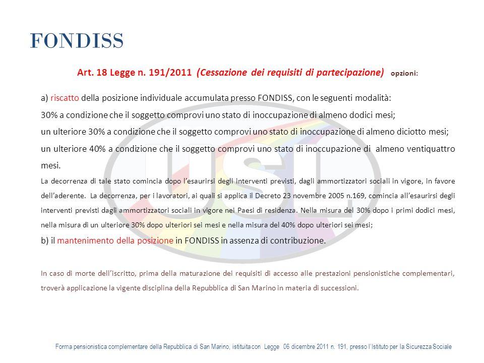 FONDISS Art. 18 Legge n.