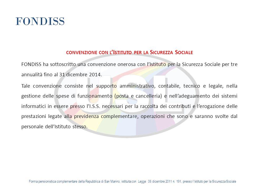 FONDISS CONVENZIONE CON L I STITUTO PER LA S ICUREZZA S OCIALE FONDISS ha sottoscritto una convenzione onerosa con lIstituto per la Sicurezza Sociale per tre annualità fino al 31 dicembre 2014.