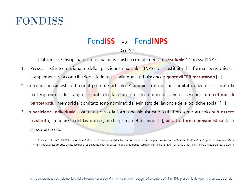 FONDISS FondISS vs FondINPS Art.