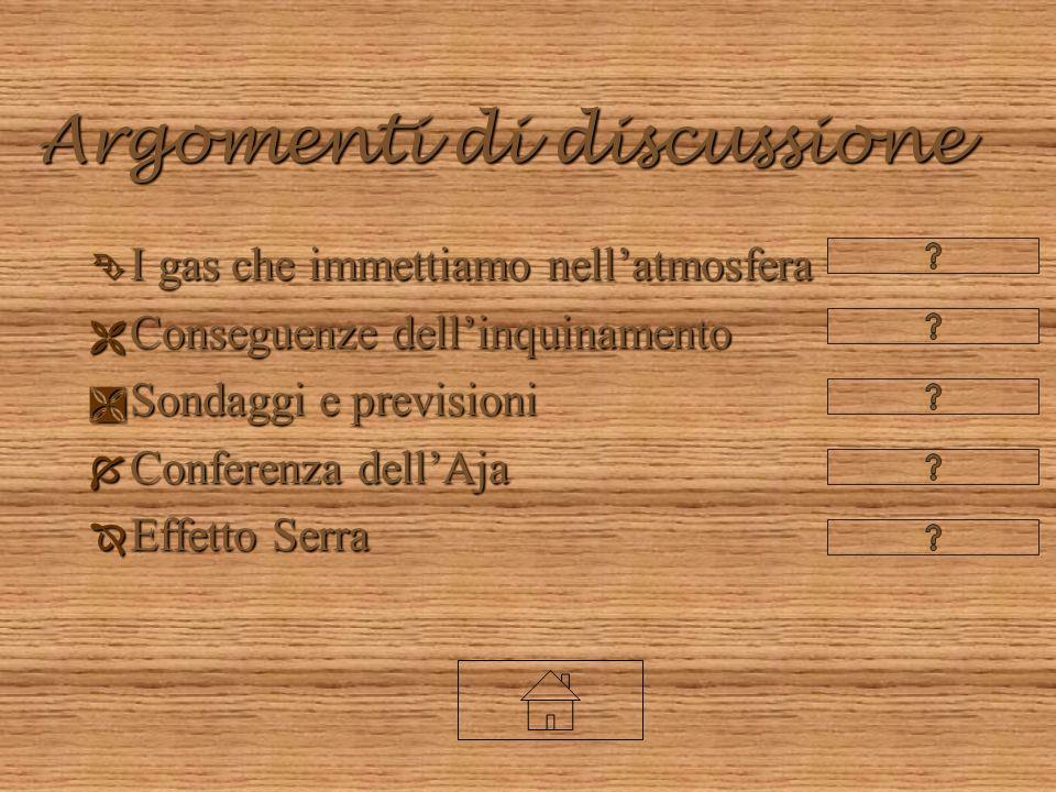 Argomenti di discussione Ê I gas che immettiamo nellatmosfera Ë Conseguenze dellinquinamento Ì Sondaggi e previsioni Í Conferenza dellAja Î Effetto Serra