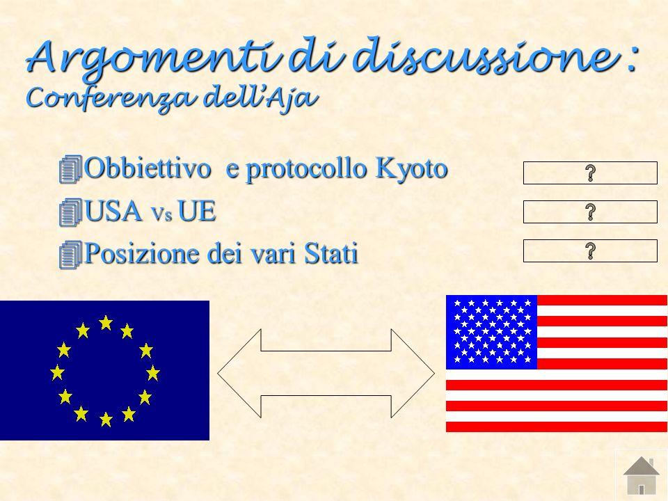 Argomenti di discussione : Conferenza dellAja 4Obbiettivo e protocollo Kyoto 4USA Vs UE 4Posizione dei vari Stati