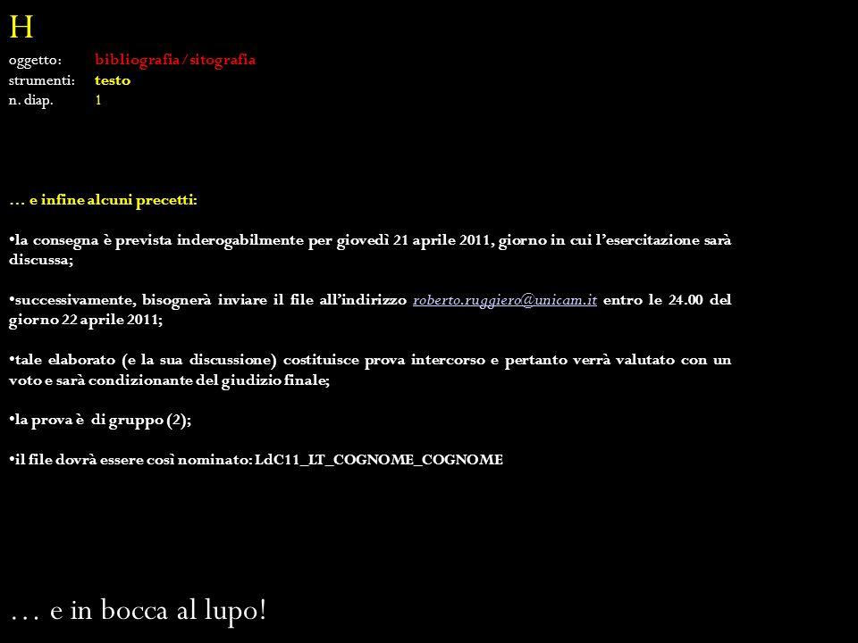 H oggetto: bibliografia/sitografia strumenti: testo n.