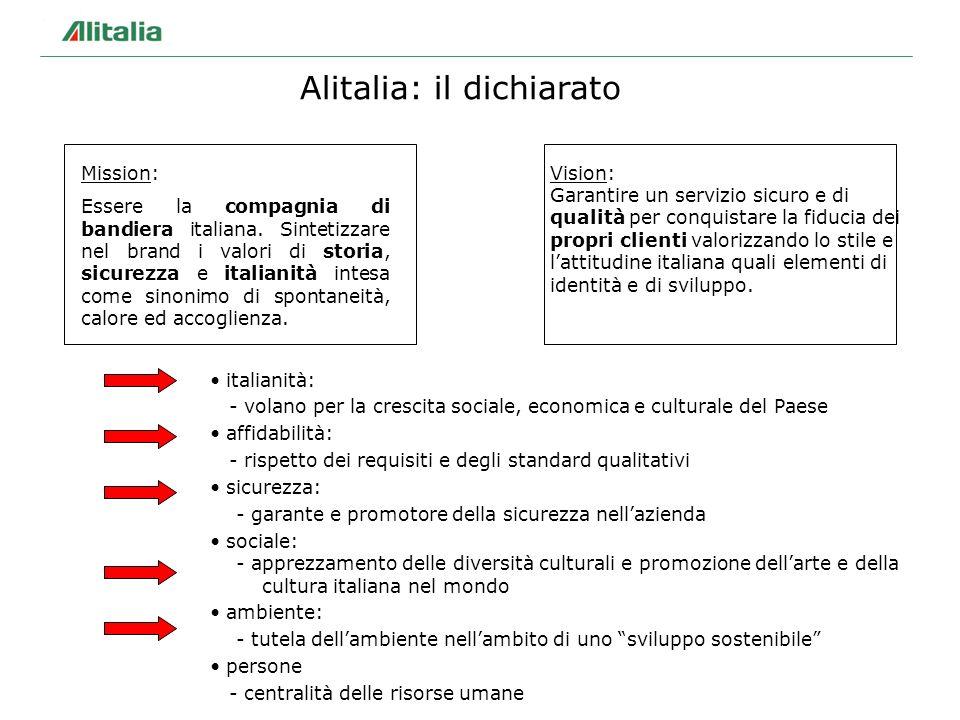 Alitalia: il dichiarato Mission: Essere la compagnia di bandiera italiana. Sintetizzare nel brand i valori di storia, sicurezza e italianità intesa co