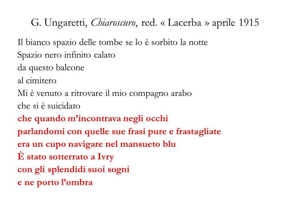 G. Ungaretti, Chiaroscuro, red. « Lacerba » aprile 1915 Il bianco spazio delle tombe se lo è sorbito la notte Spazio nero infinito calato da questo ba