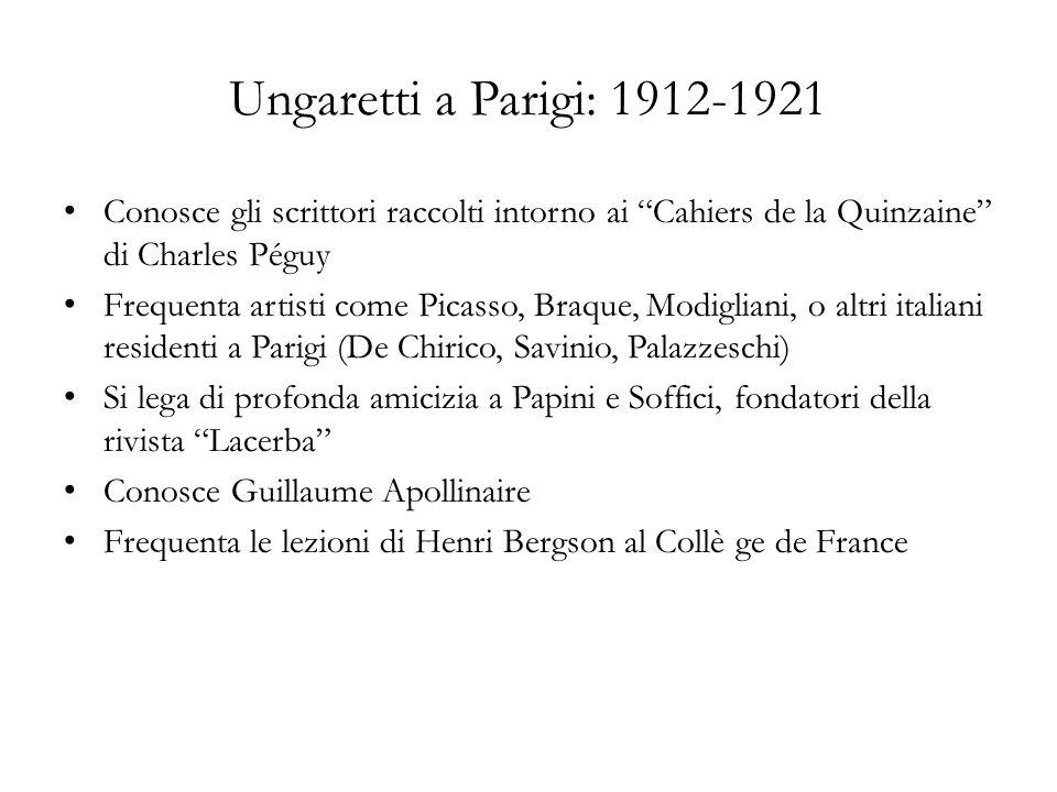 Ungaretti a Parigi: 1912-1921 Conosce gli scrittori raccolti intorno ai Cahiers de la Quinzaine di Charles Péguy Frequenta artisti come Picasso, Braqu