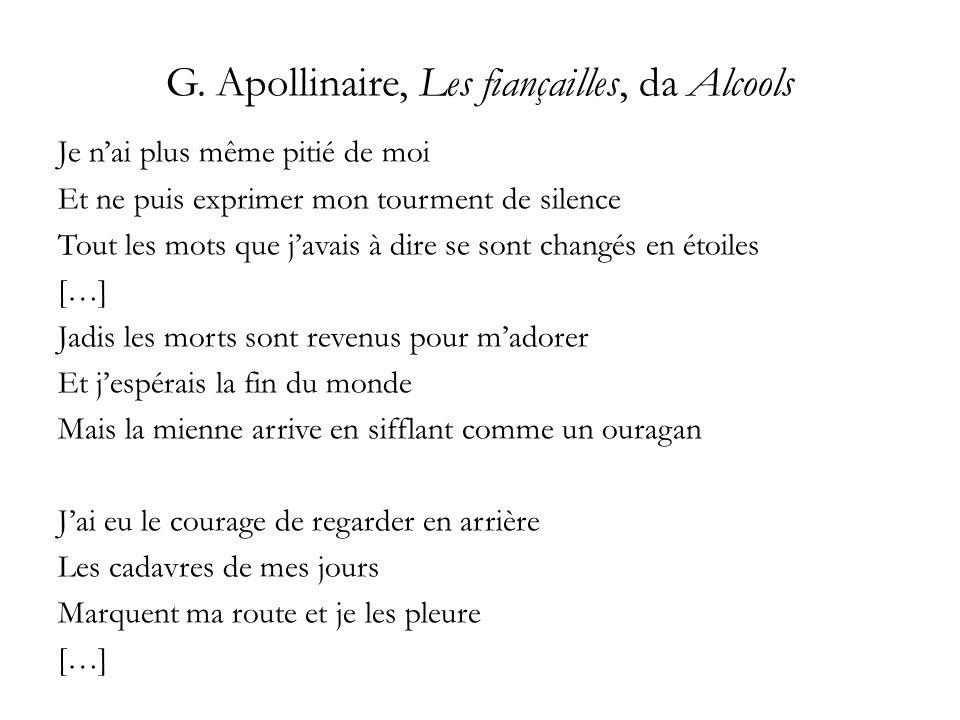 G. Apollinaire, Les fiançailles, da Alcools Je nai plus même pitié de moi Et ne puis exprimer mon tourment de silence Tout les mots que javais à dire