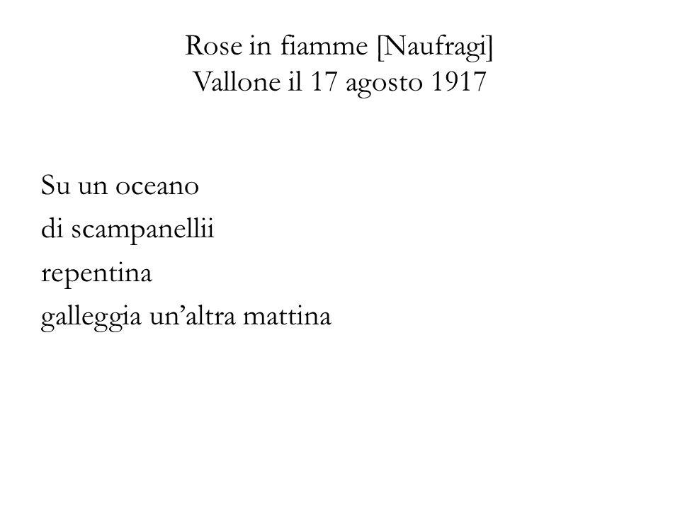 Rose in fiamme [Naufragi] Vallone il 17 agosto 1917 Su un oceano di scampanellii repentina galleggia unaltra mattina
