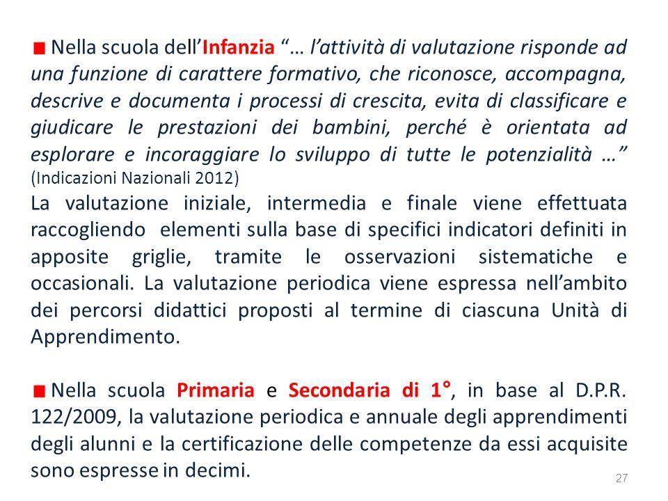 Nella scuola dellInfanzia … lattività di valutazione risponde ad una funzione di carattere formativo, che riconosce, accompagna, descrive e documenta