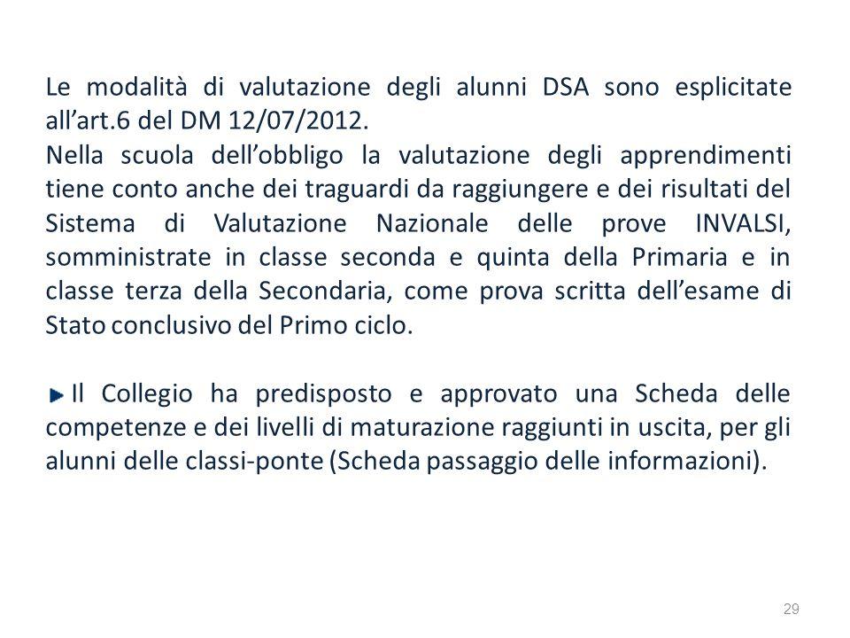Le modalità di valutazione degli alunni DSA sono esplicitate allart.6 del DM 12/07/2012. Nella scuola dellobbligo la valutazione degli apprendimenti t