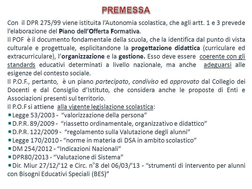 Piano dellOfferta Formativa Con il DPR 275/99 viene istituita lAutonomia scolastica, che agli artt. 1 e 3 prevede lelaborazione del Piano dellOfferta