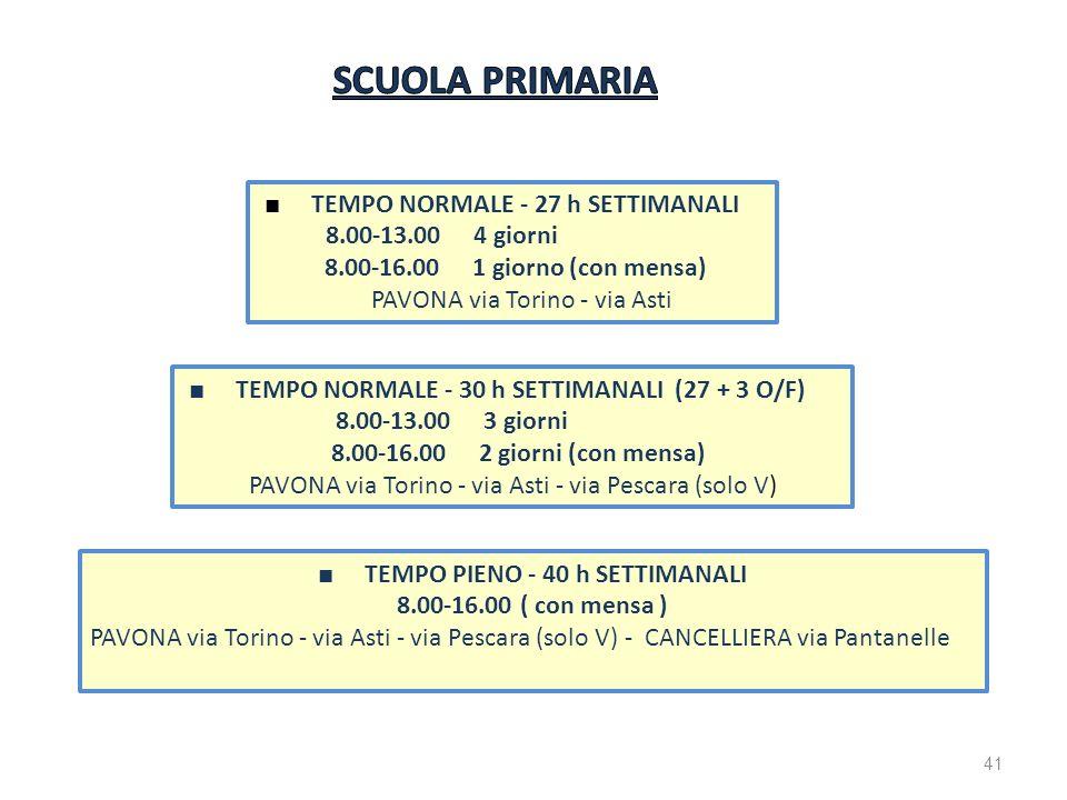 TEMPO PIENO - 40 h SETTIMANALI 8.00-16.00 ( con mensa ) PAVONA via Torino - via Asti - via Pescara (solo V) - CANCELLIERA via Pantanelle TEMPO NORMALE