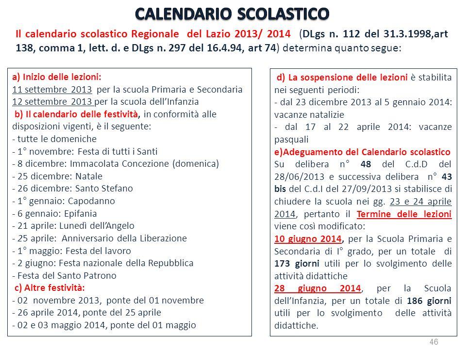 a) Inizio delle lezioni: 11 settembre 2013 per la scuola Primaria e Secondaria 12 settembre 2013 per la scuola dellInfanzia b) Il calendario delle fes