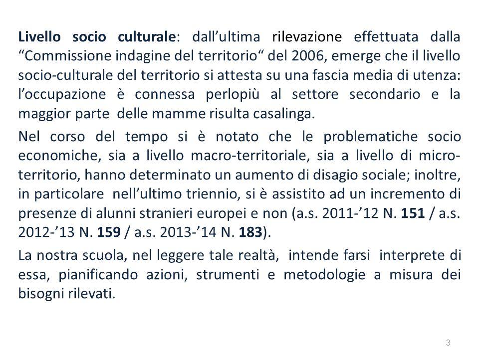 Livello socio culturale: dallultima rilevazione effettuata dalla Commissione indagine del territorio del 2006, emerge che il livello socio-culturale d