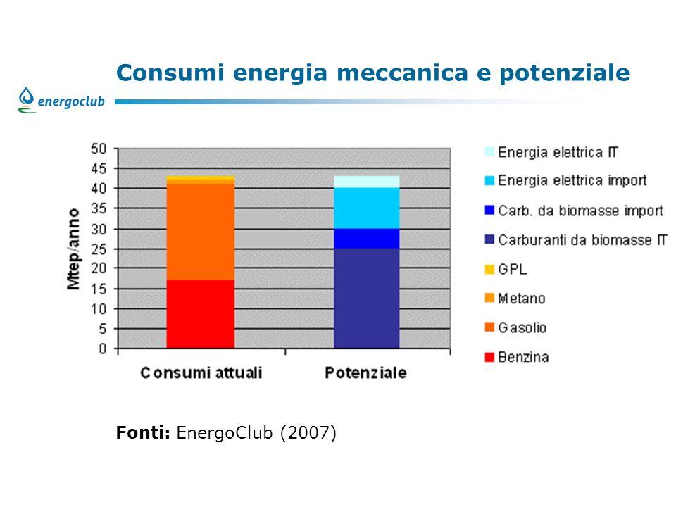 Consumi energia meccanica e potenziale Fonti: EnergoClub (2007)