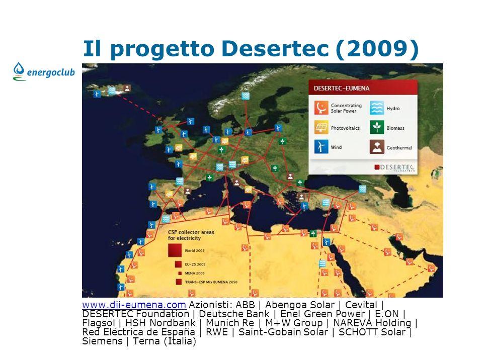 Il progetto Desertec (2009) www.dii-eumena.comwww.dii-eumena.com Azionisti: ABB | Abengoa Solar | Cevital | DESERTEC Foundation | Deutsche Bank | Enel Green Power | E.ON | Flagsol | HSH Nordbank | Munich Re | M+W Group | NAREVA Holding | Red Eléctrica de España | RWE | Saint-Gobain Solar | SCHOTT Solar | Siemens | Terna (Italia)