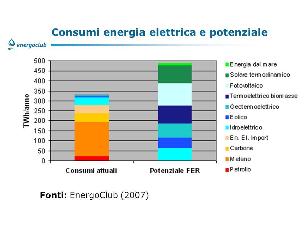 Consumi energia elettrica e potenziale Fonti: EnergoClub (2007)