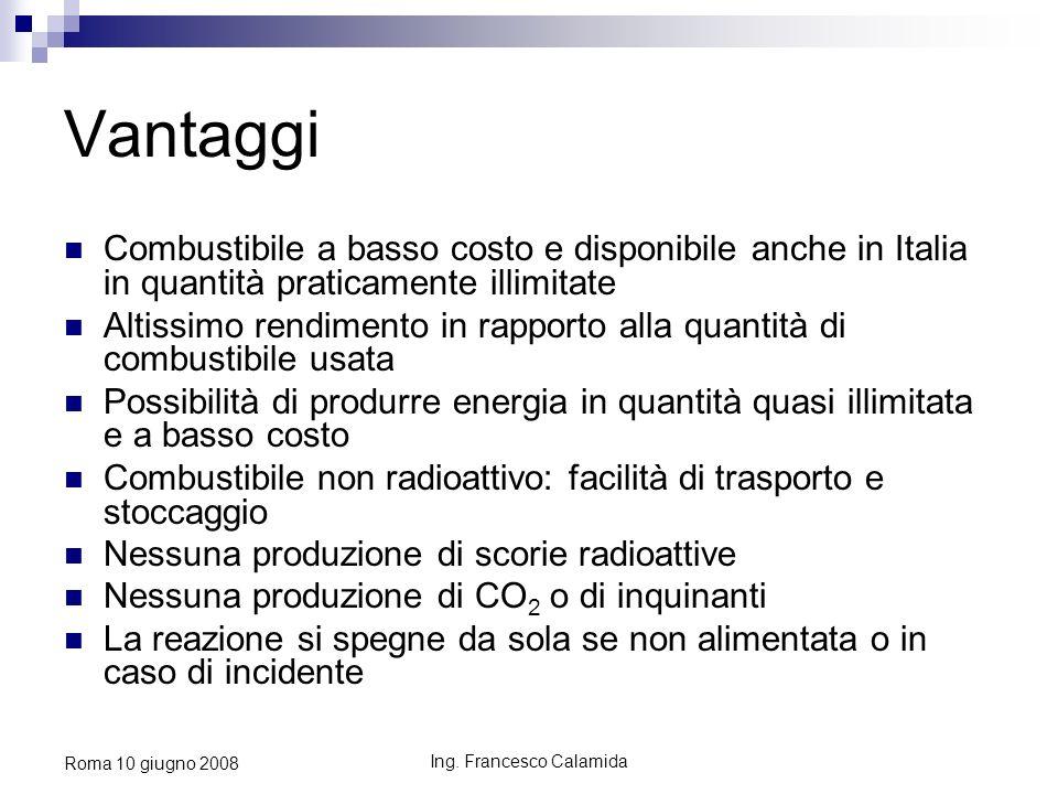Ing. Francesco Calamida Roma 10 giugno 2008 Vantaggi Combustibile a basso costo e disponibile anche in Italia in quantità praticamente illimitate Alti