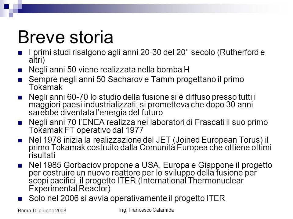Ing. Francesco Calamida Roma 10 giugno 2008 Breve storia I primi studi risalgono agli anni 20-30 del 20° secolo (Rutherford e altri) Negli anni 50 vie