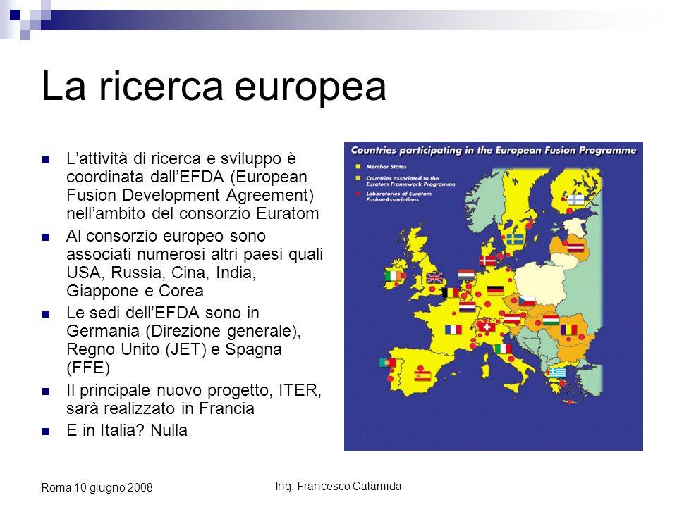 Ing. Francesco Calamida Roma 10 giugno 2008 La ricerca europea Lattività di ricerca e sviluppo è coordinata dallEFDA (European Fusion Development Agre