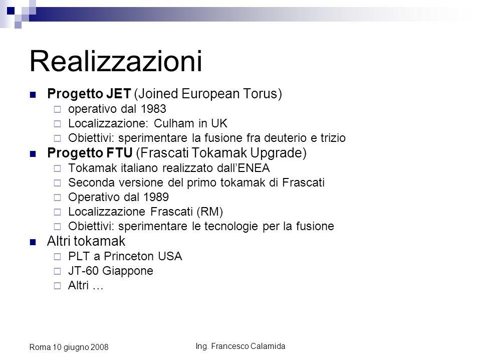 Ing. Francesco Calamida Roma 10 giugno 2008 Realizzazioni Progetto JET (Joined European Torus) operativo dal 1983 Localizzazione: Culham in UK Obietti
