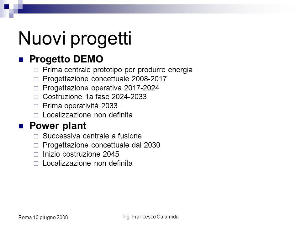 Ing. Francesco Calamida Roma 10 giugno 2008 Nuovi progetti Progetto DEMO Prima centrale prototipo per produrre energia Progettazione concettuale 2008-
