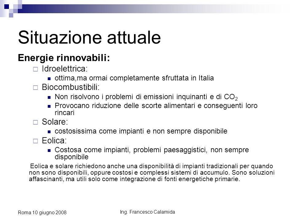 Ing. Francesco Calamida Roma 10 giugno 2008 Situazione attuale Energie rinnovabili: Idroelettrica: ottima,ma ormai completamente sfruttata in Italia B