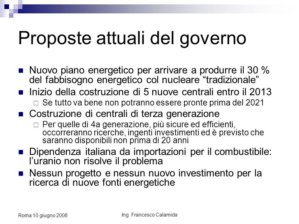 Ing. Francesco Calamida Roma 10 giugno 2008 Proposte attuali del governo Nuovo piano energetico per arrivare a produrre il 30 % del fabbisogno energet