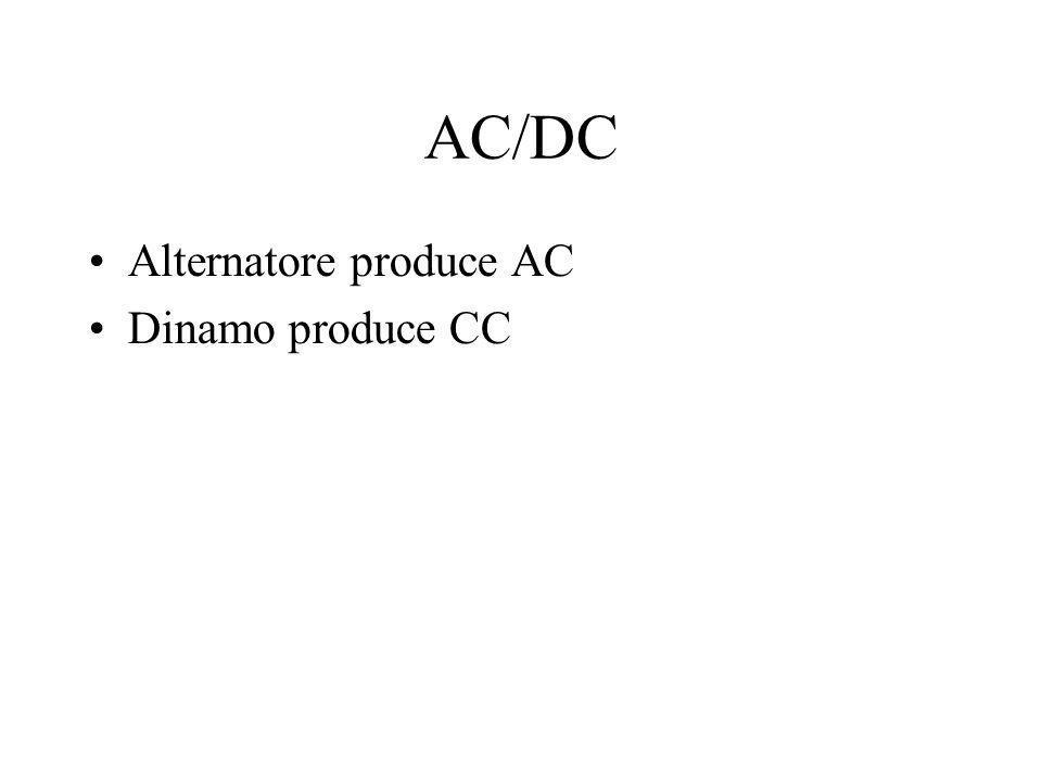 AC/DC Alternatore produce AC Dinamo produce CC