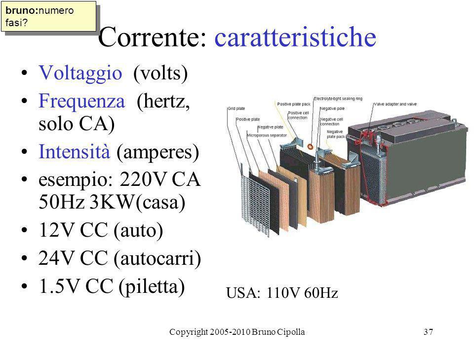Copyright 2005-2010 Bruno Cipolla37 Corrente: caratteristiche Voltaggio (volts) Frequenza (hertz, solo CA) Intensità (amperes) esempio: 220V CA 50Hz 3