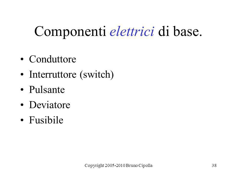 Copyright 2005-2010 Bruno Cipolla38 Componenti elettrici di base. Conduttore Interruttore (switch) Pulsante Deviatore Fusibile