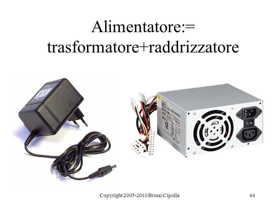 Copyright 2005-2010 Bruno Cipolla44 Alimentatore:= trasformatore+raddrizzatore