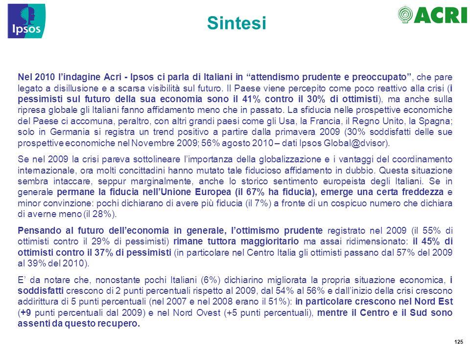125 Nel 2010 lindagine Acri - Ipsos ci parla di Italiani in attendismo prudente e preoccupato, che pare legato a disillusione e a scarsa visibilità sul futuro.