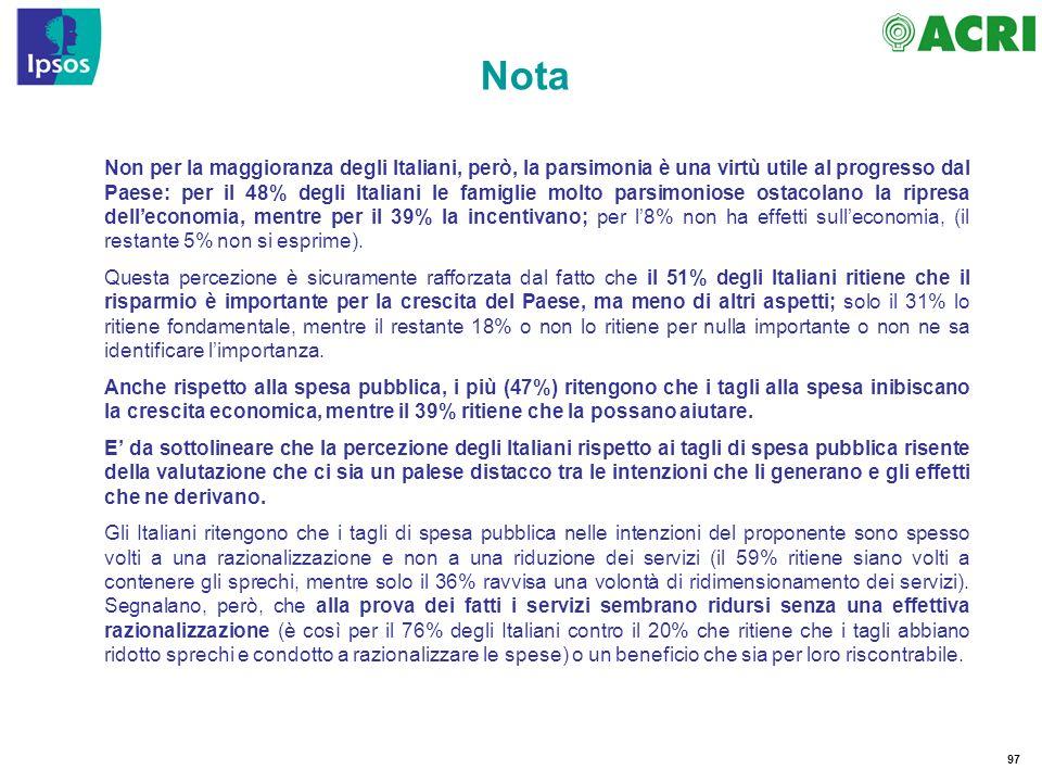 97 Nota Non per la maggioranza degli Italiani, però, la parsimonia è una virtù utile al progresso dal Paese: per il 48% degli Italiani le famiglie molto parsimoniose ostacolano la ripresa delleconomia, mentre per il 39% la incentivano; per l8% non ha effetti sulleconomia, (il restante 5% non si esprime).