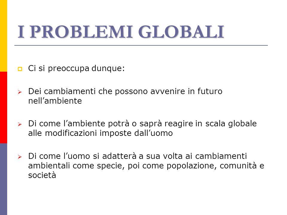 I PROBLEMI GLOBALI Ci si preoccupa dunque: Dei cambiamenti che possono avvenire in futuro nellambiente Di come lambiente potrà o saprà reagire in scal