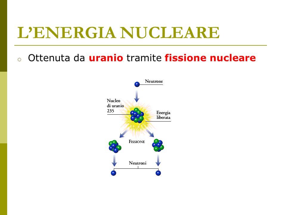 LENERGIA NUCLEARE o Ottenuta da uranio tramite fissione nucleare