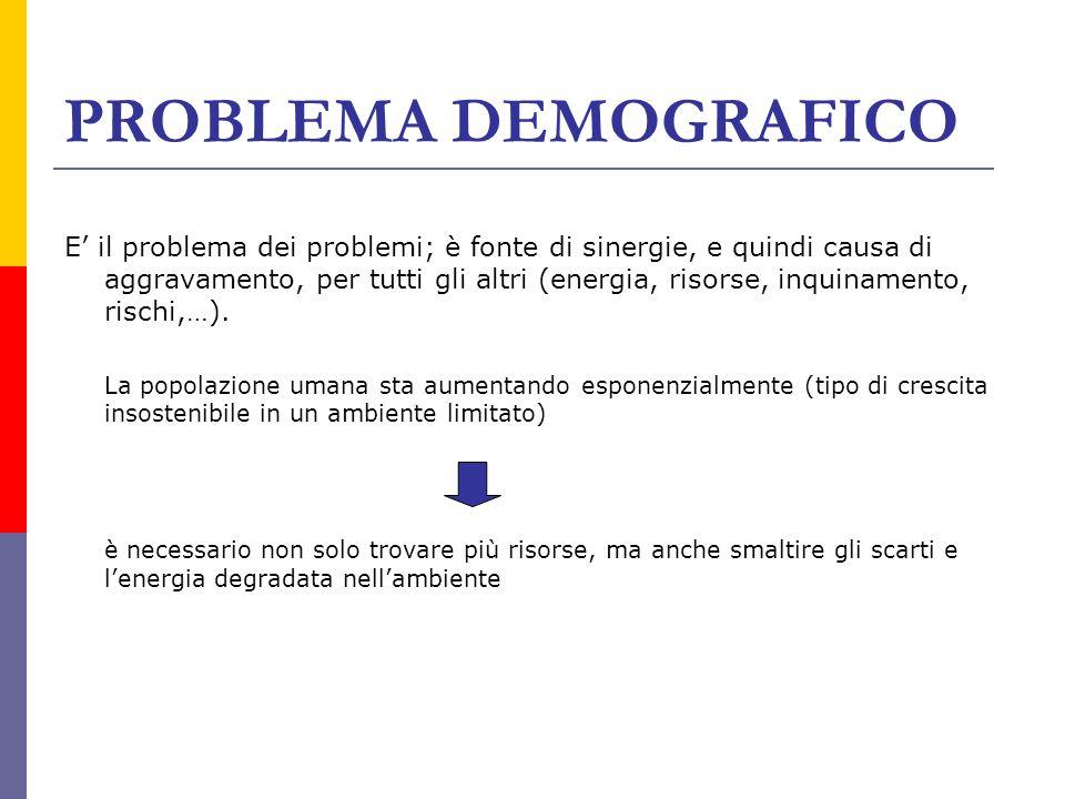 PROBLEMA DEMOGRAFICO E il problema dei problemi; è fonte di sinergie, e quindi causa di aggravamento, per tutti gli altri (energia, risorse, inquiname