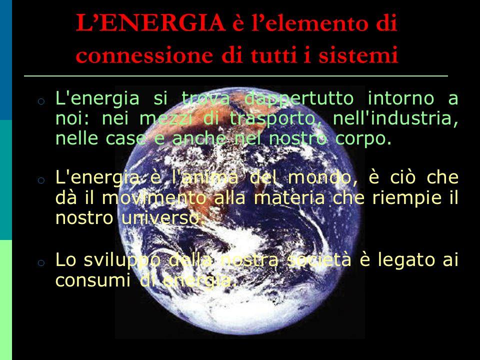 o L'energia si trova dappertutto intorno a noi: nei mezzi di trasporto, nell'industria, nelle case e anche nel nostro corpo. o L'energia è l'anima del