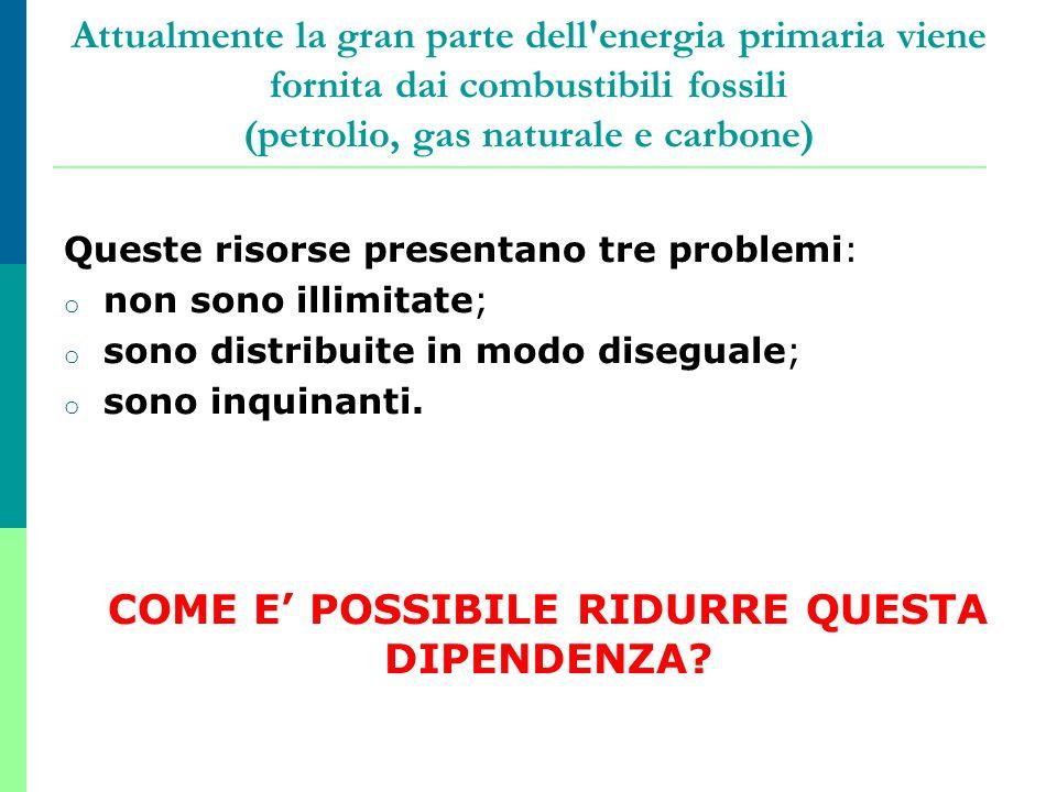 Attualmente la gran parte dell'energia primaria viene fornita dai combustibili fossili (petrolio, gas naturale e carbone) Queste risorse presentano tr