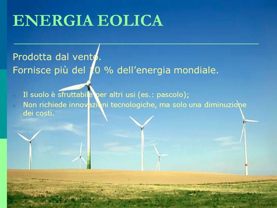 ENERGIA EOLICA Prodotta dal vento. Fornisce più del 10 % dellenergia mondiale. o Il suolo è sfruttabile per altri usi (es.: pascolo); o Non richiede i