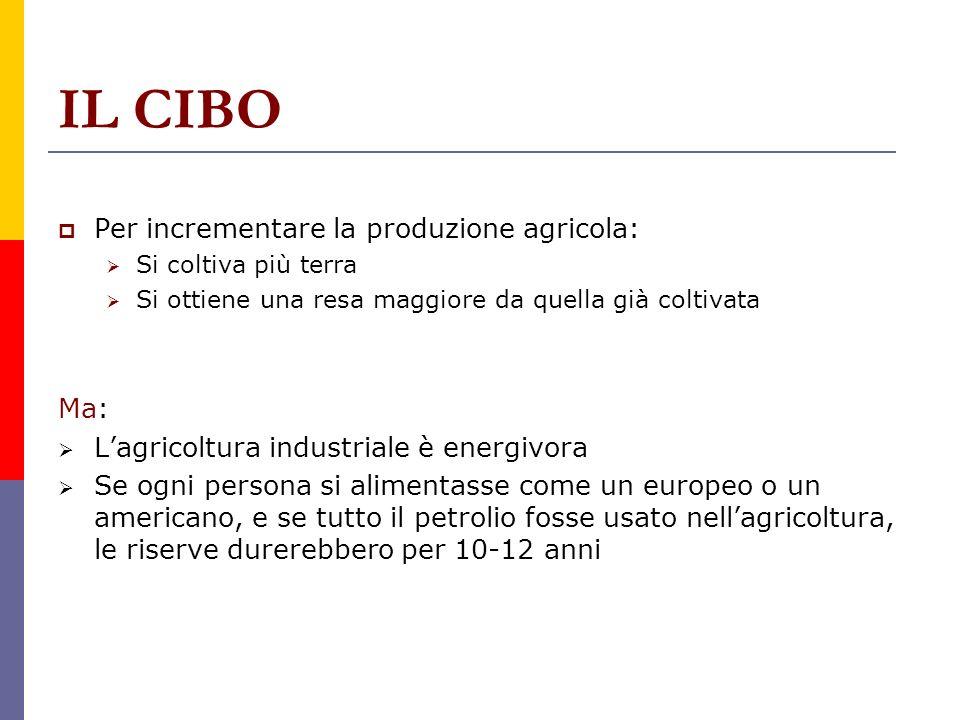IL CIBO Per incrementare la produzione agricola: Si coltiva più terra Si ottiene una resa maggiore da quella già coltivata Ma: Lagricoltura industrial
