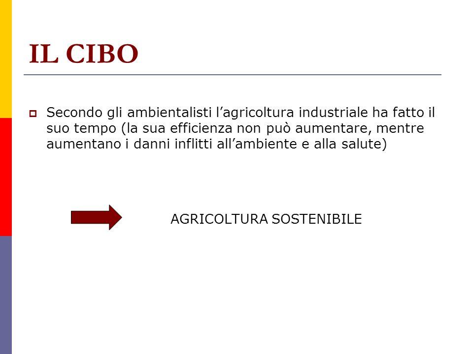 IL CIBO Secondo gli ambientalisti lagricoltura industriale ha fatto il suo tempo (la sua efficienza non può aumentare, mentre aumentano i danni inflit