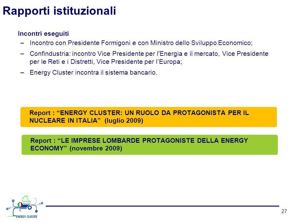 Rapporti istituzionali 27 Incontri eseguiti –Incontro con Presidente Formigoni e con Ministro dello Sviluppo Economico; –Confindustria: incontro Vice Presidente per l Energia e il mercato, Vice Presidente per le Reti e i Distretti, Vice Presidente per lEuropa; –Energy Cluster incontra il sistema bancario.