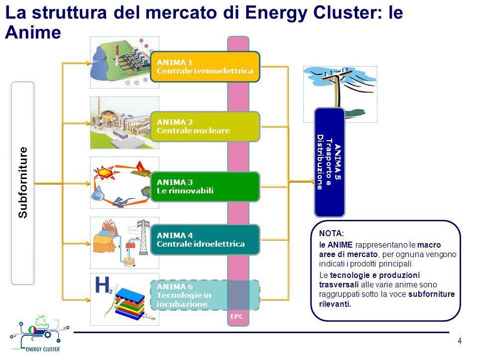 4 ANIMA 1 Centrale termoelettrica ANIMA 2 Centrale nucleare ANIMA 3 Le rinnovabili ANIMA 4 Centrale idroelettrica ANIMA 6 Tecnologie in incubazione EPC La struttura del mercato di Energy Cluster: le Anime Subforniture ANIMA 5 Trasporto e Distribuzione NOTA: le ANIME rappresentano le macro aree di mercato, per ognuna vengono indicati i prodotti principali.