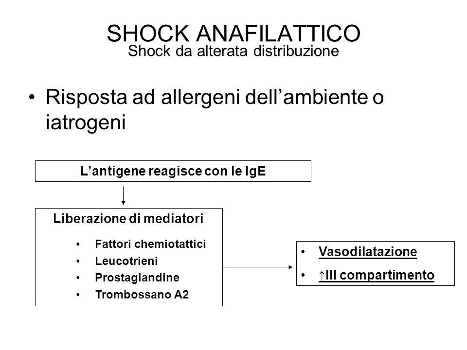 Risposta ad allergeni dellambiente o iatrogeni SHOCK ANAFILATTICO Shock da alterata distribuzione Lantigene reagisce con le IgE Liberazione di mediato