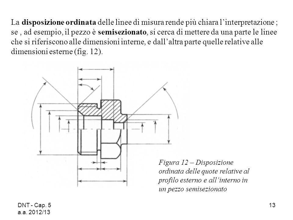DNT - Cap. 5 a.a. 2012/13 13 La disposizione ordinata delle linee di misura rende più chiara linterpretazione ; se, ad esempio, il pezzo è semiseziona