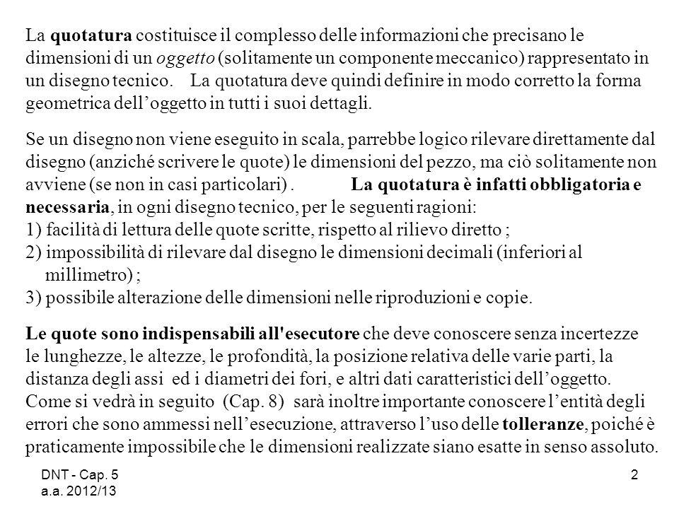 DNT - Cap. 5 a.a. 2012/13 2 La quotatura costituisce il complesso delle informazioni che precisano le dimensioni di un oggetto (solitamente un compone