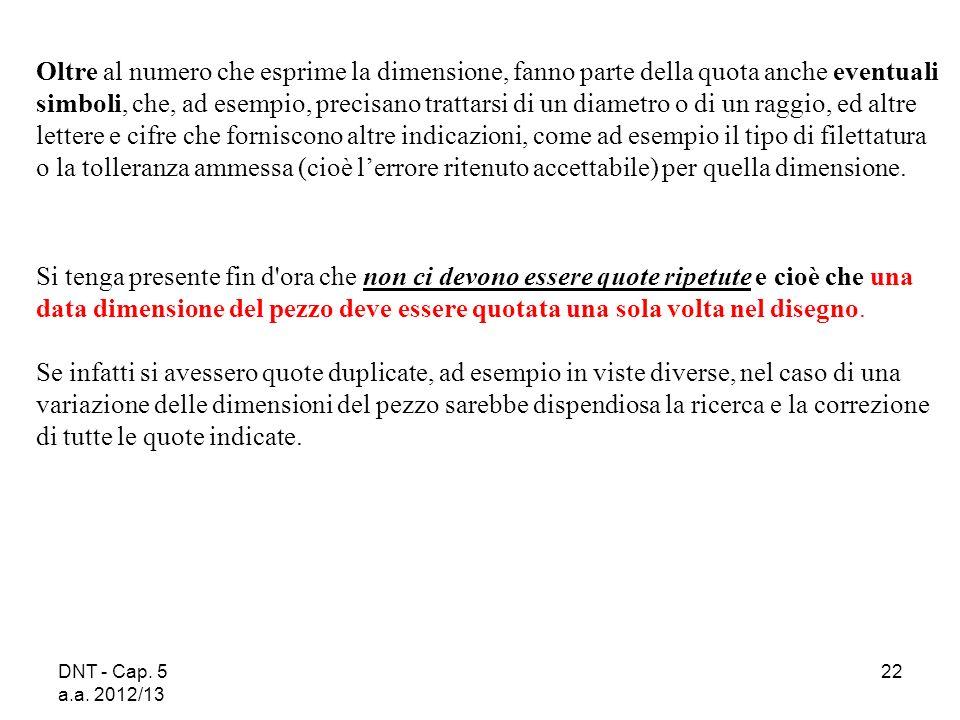 DNT - Cap. 5 a.a. 2012/13 22 Oltre al numero che esprime la dimensione, fanno parte della quota anche eventuali simboli, che, ad esempio, precisano tr