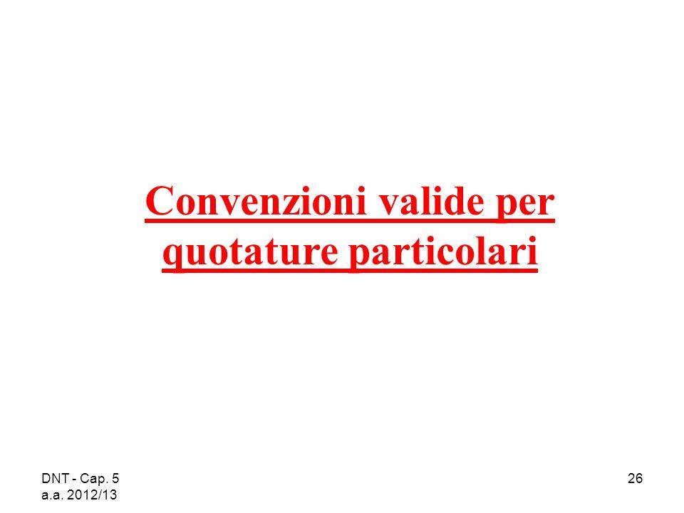 DNT - Cap. 5 a.a. 2012/13 26 Convenzioni valide per quotature particolari