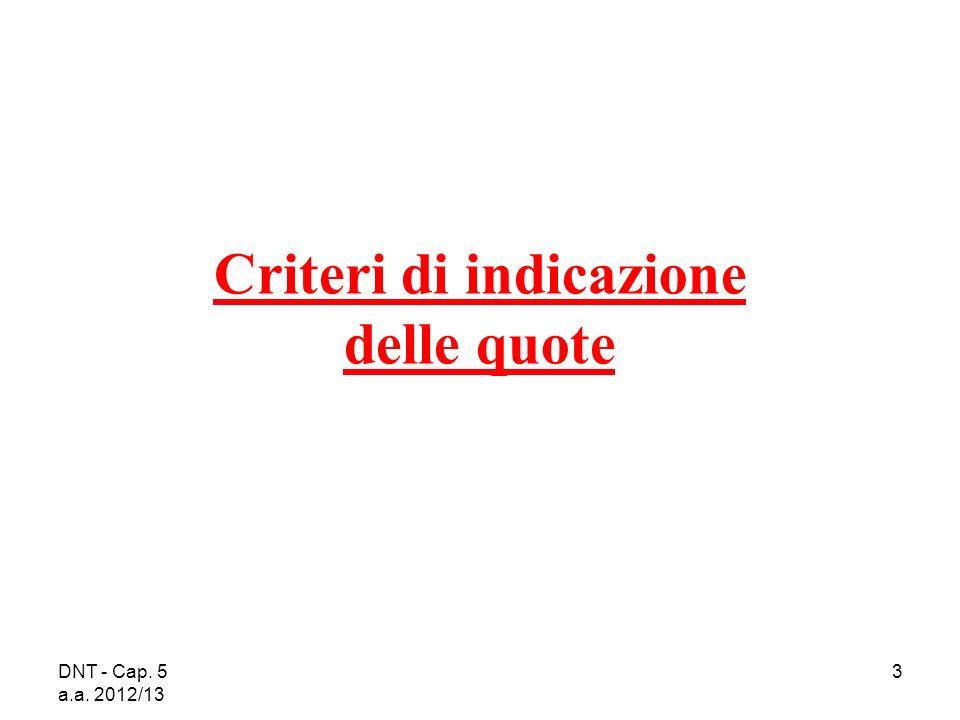 DNT - Cap. 5 a.a. 2012/13 3 Criteri di indicazione delle quote