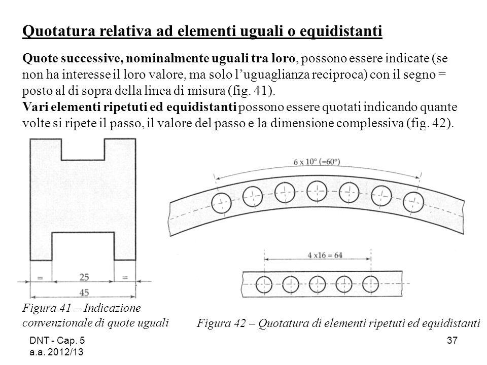 DNT - Cap. 5 a.a. 2012/13 37 Figura 41 – Indicazione convenzionale di quote uguali Figura 42 – Quotatura di elementi ripetuti ed equidistanti Quotatur